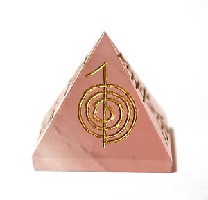 REIKI ENERGY CHARGED ROSE QUARTZ NATURAL CRYSTAL PYRAMID POWER SYMBOL ENGRAVED