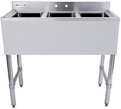 3 Compartment Sink Nsf Stainless Steel Commercial Underbar Adjustable Industrial