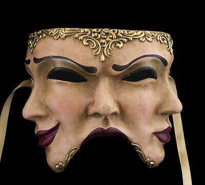 Mask from Venice The 3 Faces IN Paper Mache Handmade Top Quality 1721