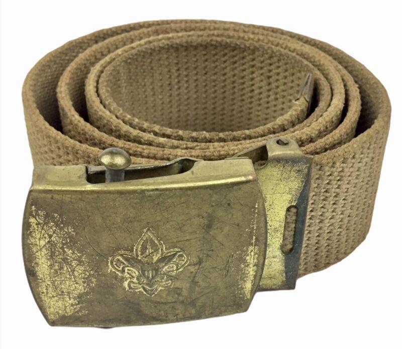 Vintage 1950s  BSA Boy Scouts of America Khaki Belt w/ Solid Brass Buckle  FREE!