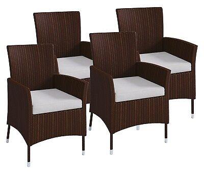 Gartenstühle 2 Stück Poly-Rattan Braun C0Y1