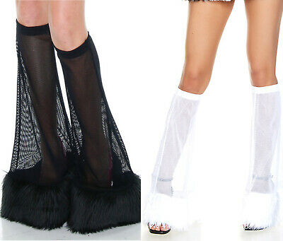Furry Legwarmers Fishnet Bell Bottom Fuzzy Boot Covers Faux Fur Costume 118301](Faux Fur Boot Covers)