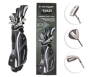 New Dunlop Tour Black Mens Golf Package Set Stand Bag Clubs Gift Driver Iron