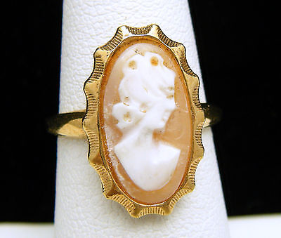 Vintage Coventry Ring 12K Gold Filled Carved Shell Cameo on Lookza