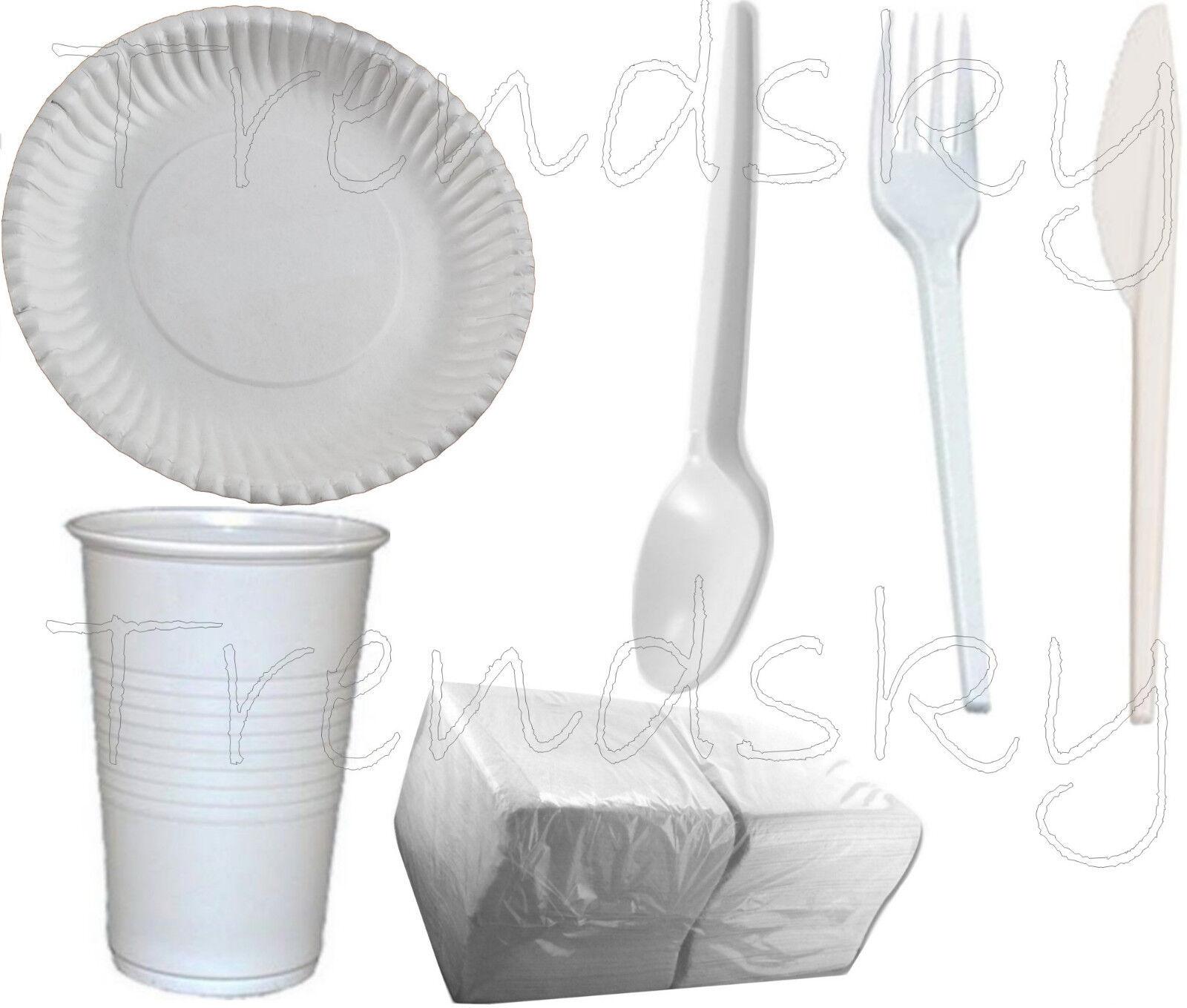 6in1] 100 x Pappteller Rund 23cm+Löffel+Messer+Gabel+Trinkbecher+ 500 Serviette