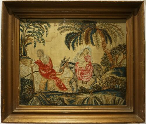 """EARLY 19TH CENTURY WOOL WORK OF """"THE HOLY FAMILY"""