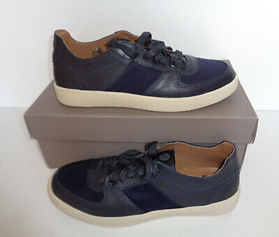 Mens New H by Hudson Leather Shoes Lace Up Navy Casual Trainers RRP £60 Size 9