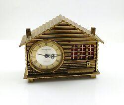 Vintage Swiss Chalet Alarm Clock 8 Days Remembrance Music Box Brass