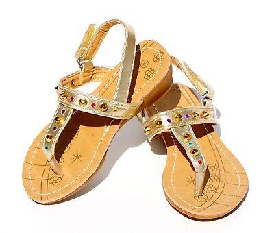 Thong Heel Schuh (Baby Toddler Girls Sandals Studded Rhinestone Strap Thong Flip Shoes Low Heel)