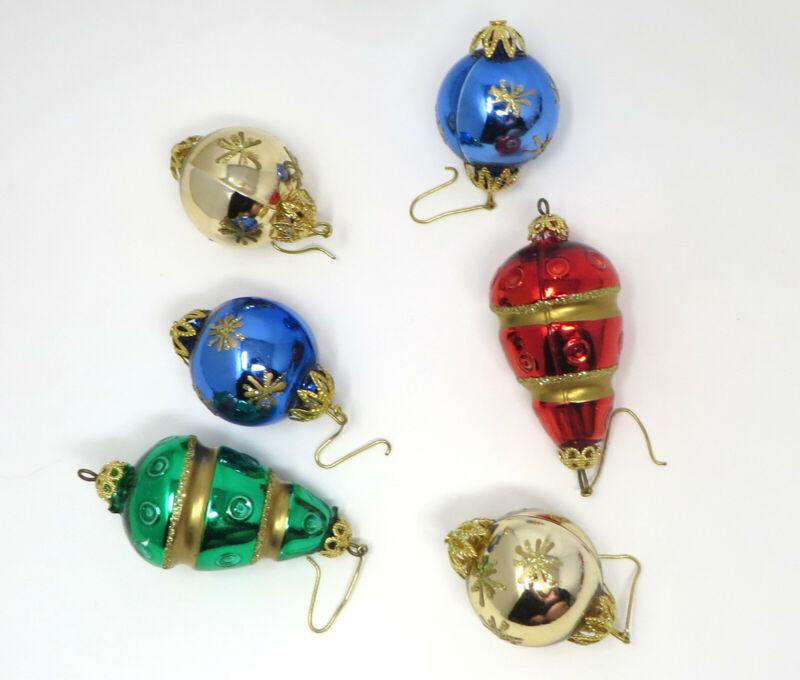 "6 Mini Vintage Mercury Glass Ornaments Icicles Teardrops ~ 2"" ~ Feather Tree"