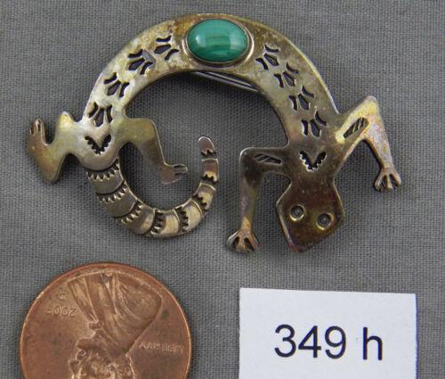 Navajo Lizard Sterling & Malachite Stamped Pin