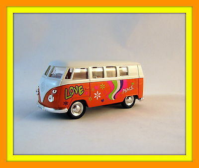 1963 VOLKSWAGEN T1 MINIBUS ORANGE/WHITE WELLY 1/38 DIECAST COLLECTOR'S CAR MODEL