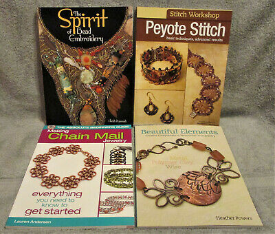 Lot of 4 Books Beading Jewelry Wire Dimensional Bead Embroidery Craft Books NEW