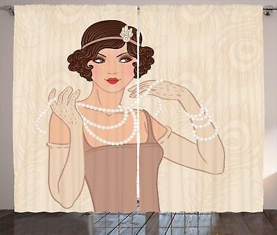 Old Hollywood Curtains 2 Panel Set for Decor 5 Sizes Availab