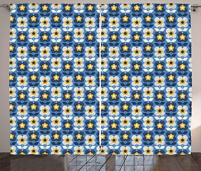 Blue and Yellow Curtains 2 Panel Set Decoration 5 Sizes Window Drapes - Blue And Yellow Curtains
