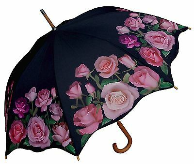 "48"" Pink Rose Print Auto-Open Umbrella  - RainStoppers Rain/Sun UV Fashion"