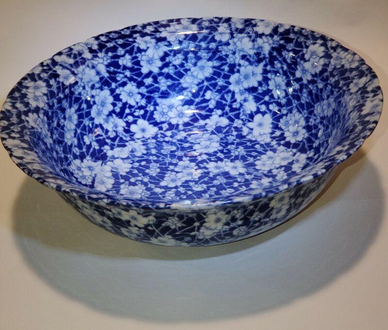 """Blue calico Victoria ware ironstone bowl 9"""""""