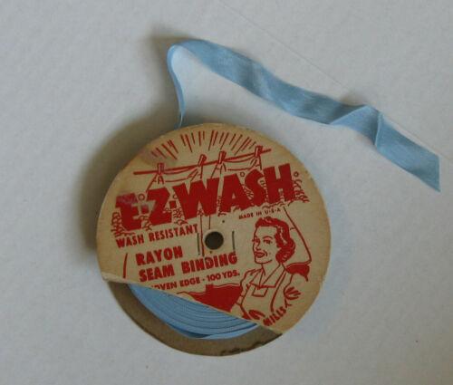 """Vintage Ribbon 5/8"""" x 75+ yards blue rayon seam binding woven edge E-Z-Wash"""