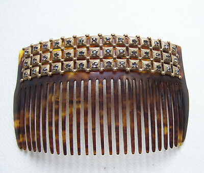 Victorian Wigs, Hair Pieces  | Victorian Hair Jewelry Late Victorian rhinestone hair comb faux tortoiseshell hair accessory $150.00 AT vintagedancer.com