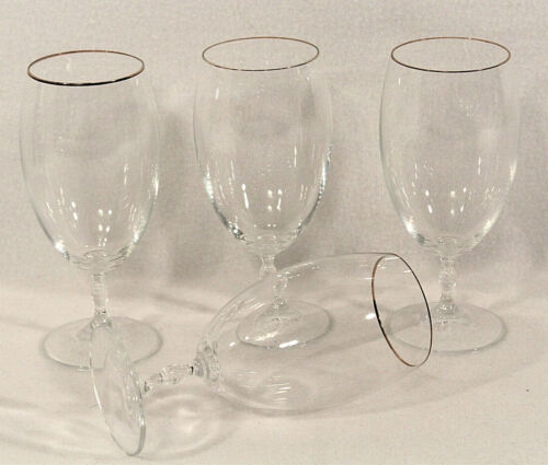 Vtg CHRISTOPHER STUART crystal CARNEGIE 4 Iced Tea Glasses Water Goblets  7-3/8""