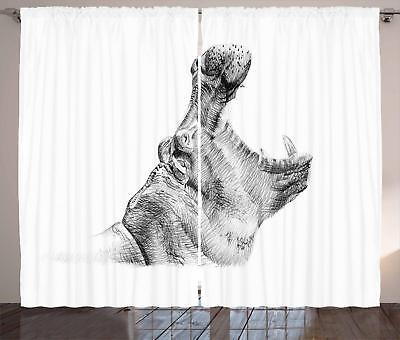 Hippo Curtains 2 Panel Set for Decor 5 Sizes Available Windo