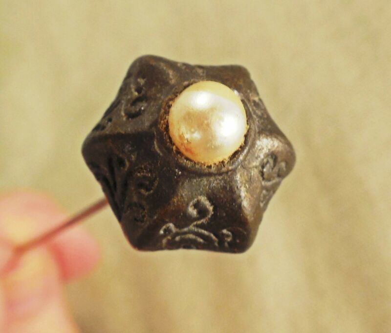 "Victorian Hat pin w Faux Pearl set in silver?  8"" antique vintage"
