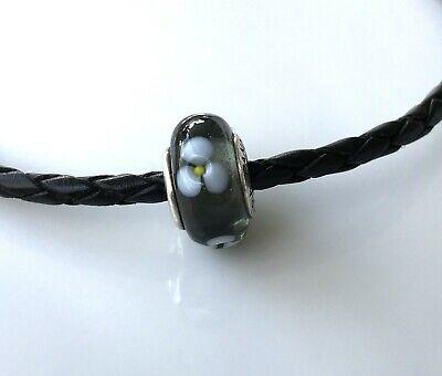 Pandora AUTHENTIC Gray Flower Wheel Murano Glass Bead Charm Retired