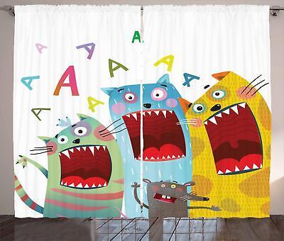 Cartoon Design Curtains 2 Panel Set for Decor 5 Sizes Availa