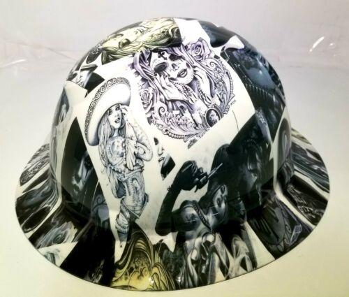 NEW FULL BRIM Hard Hat custom hydro dipped in , VIVA MI RAZA CHICANO TATTOOS 3
