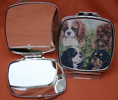 CAVALIER KING CHARLES SPANIEL dog handbag mirror compact Sandra Coen print