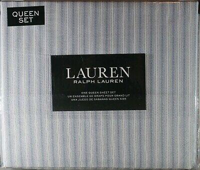 Classic Stripe Sheet Set (Ralph Lauren Blue Ticking Stripe Queen Sheet Set 4pc Modern Cottage Classic  )