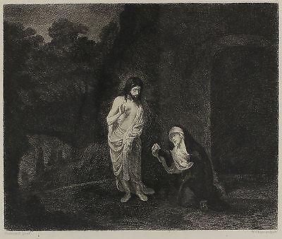 Originalradierung von William Unger nach Rembrandt - Noli Me Tangere