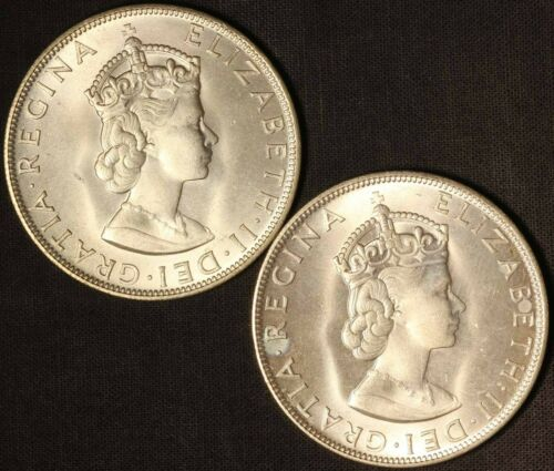 1964 Bermuda (2) One Crown .50 Silver - Free Shipping USA