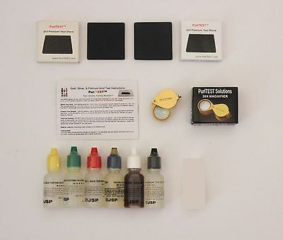 Six Bottle Gold Tester Kit  Two Stones  Low Price