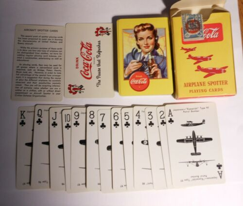 """Vintage Coca Cola 1943 """"Spotter"""" Deck of Playing Cards"""