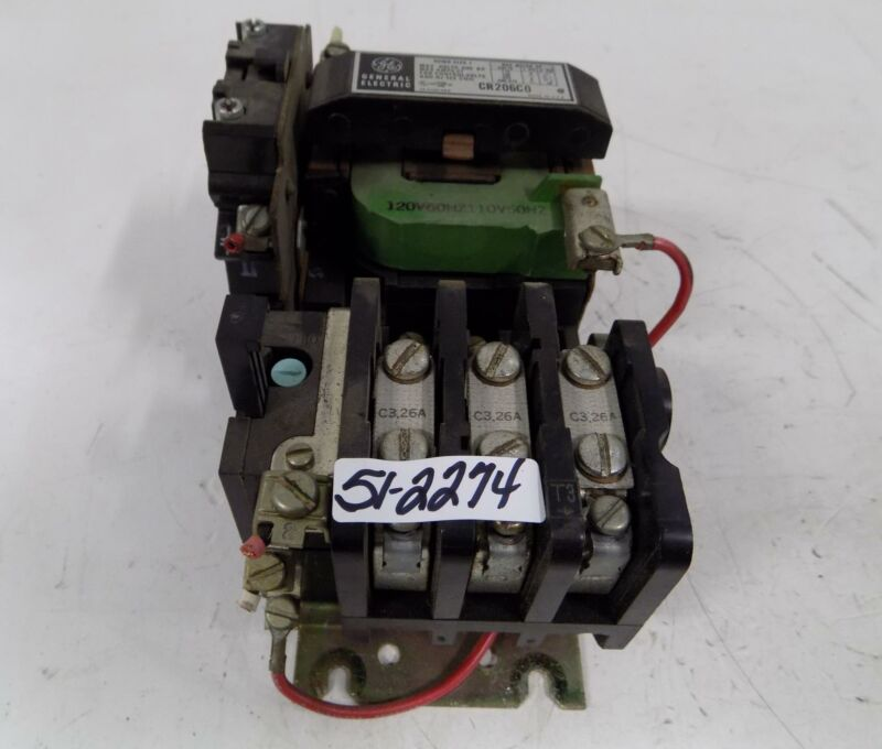 GENERAL ELECTRIC SIZE 1 27AMP CONTACTOR STARTER CR206C0