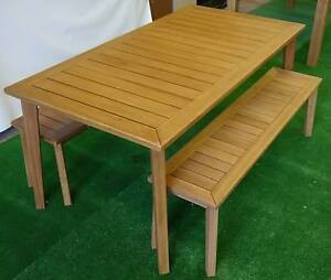 New Capri 3 Piece Dining Set Outdoor Furniture Table Bench Seats Melbourne CBD Melbourne City Preview