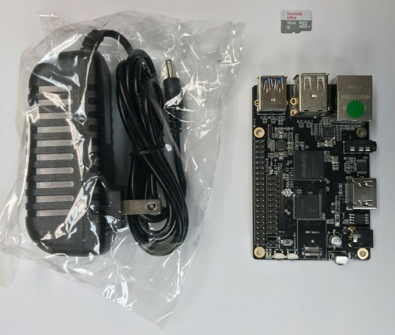 ROCK64 1GB Single Board Computer Kit V2 includes MicroSD and Power Adapter