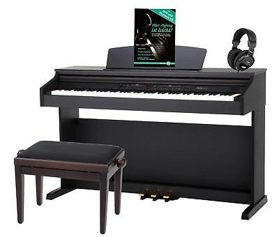 PIANOFORTE DIGITALE 88 TASTI PESATI 16 VOCI PANCHETTA CUFFIE USB LED PALISSANDRO