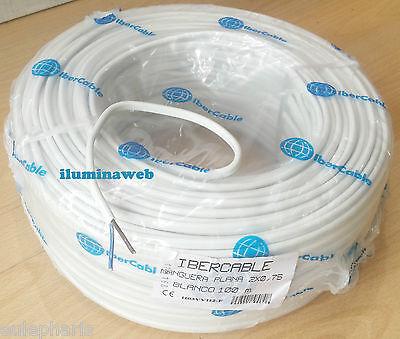 Manguera Plana blanca flexible 2x0,75mm 100metros, Cable electrico 2 polos 1150w