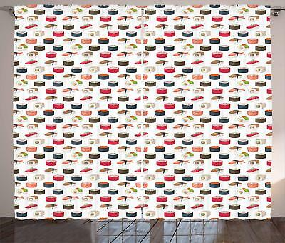Sushi Curtains 2 Panel Set Decoration 5 Sizes Window Drapes
