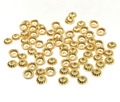ribbed corrugated gold plated brass bead caps 5mm