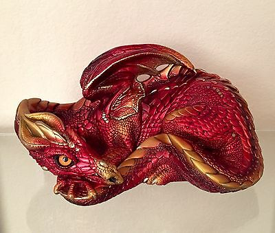 "Windstone Editions ""Red Fire"" Mother Dragon Statue Figurine"