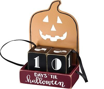 Primitives By Kathy Pumpkin Countdown Days Until Halloween Block Calendar - Days Until Halloween Countdown