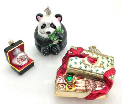 Lot of 3 Glass Christmas Ornaments, Panda, Engagement Ring & Box of Chocolates