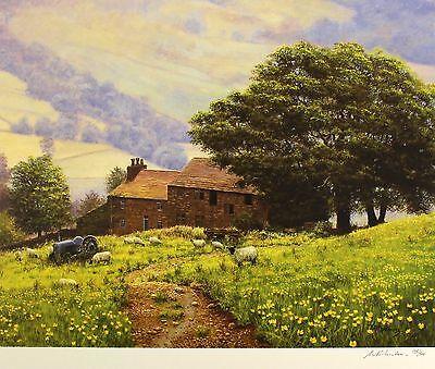 "BILL MAKINSON ""Summer Shower"" farm sheep SIGNED LIM ED! SIZE:49cm x 57cm NEW"