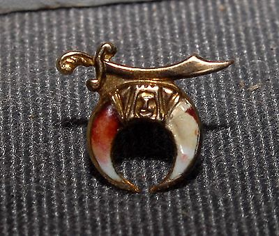 VERY NICE ANTIQUE YELLOW GOD SHRINER LAPEL PIN WITH WASHER HOLDER BACK - CHEAP! (Cheap Lapel Pins)