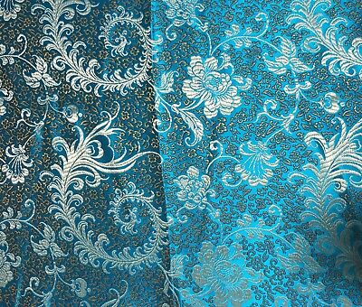 Turquoise Brocade (Turquoise & Gold Feather Floral - Faux Silk Brocade Fabric )