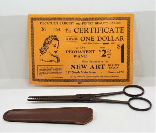 Vintage 1941 Beauty Salon Advertising Brochure & Thinning Shears Excellent Rare