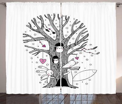 illustration curtains 2 panel set for decor